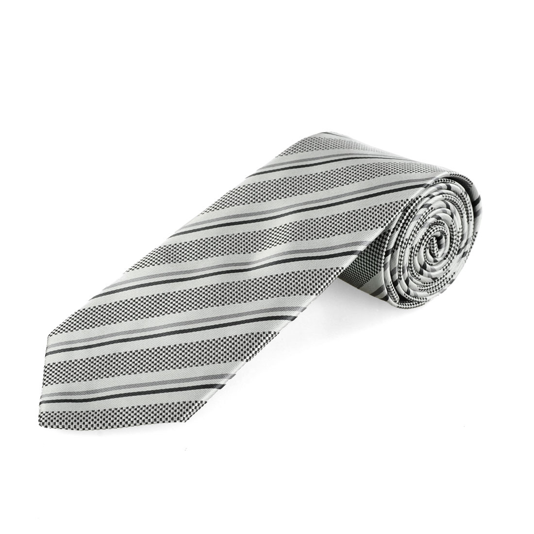 Black Gray White Plaids Inclined Stripes Pattern Men Necktie