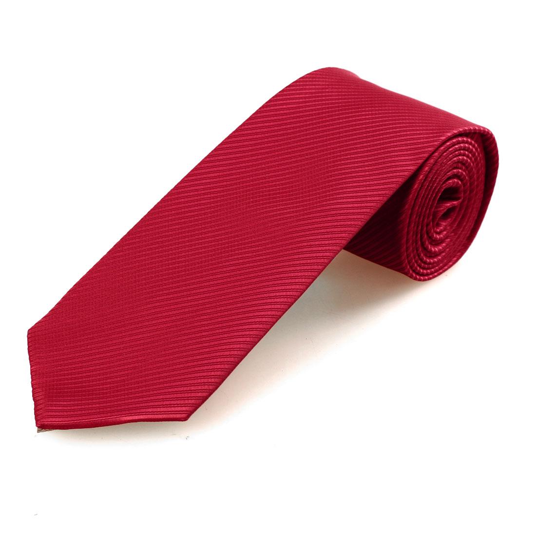 10.5cm Wide Stripe Print Polyester Self Tie Necktie Red for Men