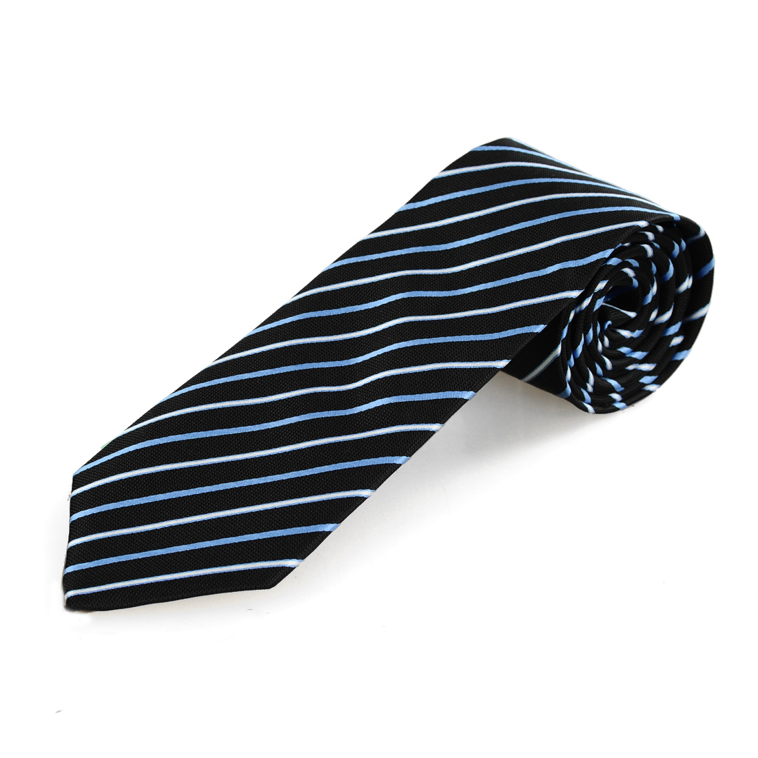 Man 8.5cm Wide Blue White Stripe Print Polyester Self Tie Necktie Black