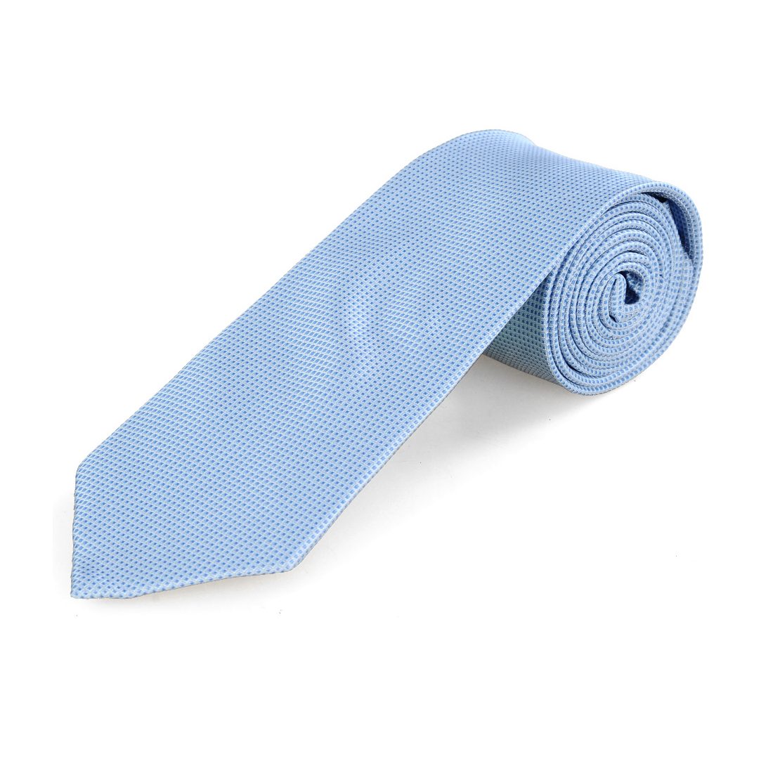 Light Blue White Carbon Fiber Pattern Polyester Neckwear Necktie for Men