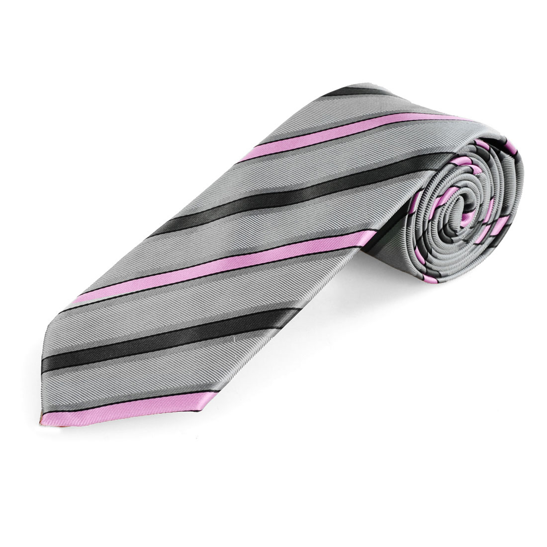 Men Gray Pink Jacquard Woven Striped Textured Suit Tie Neckwear Necktie