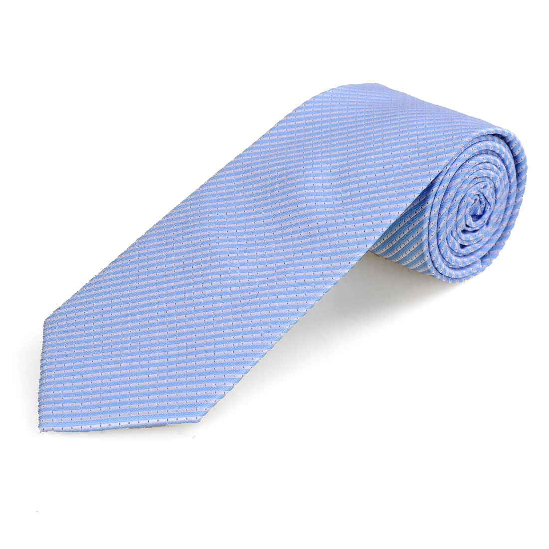 8.5cm Wide Baby Blue Stripe Print Polyester Self Tie Necktie for Men