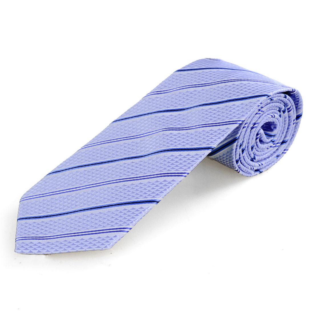 Men Light Blue Stripes Triangle Print Polyester Self Tie Necktie