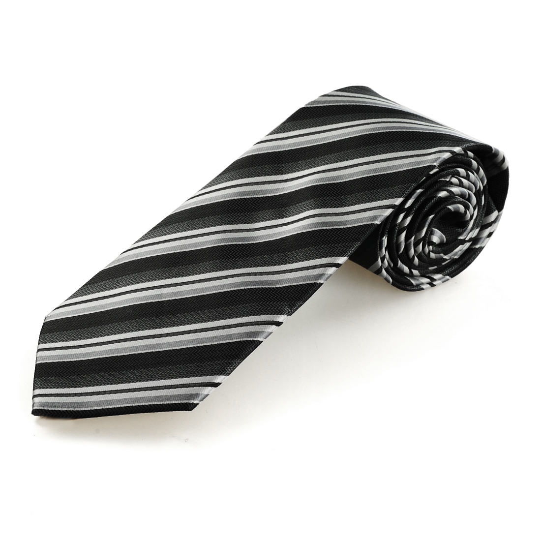 8.5cm Width Gray Black Slanting Striped Self Tie Necktie for Bridegroom