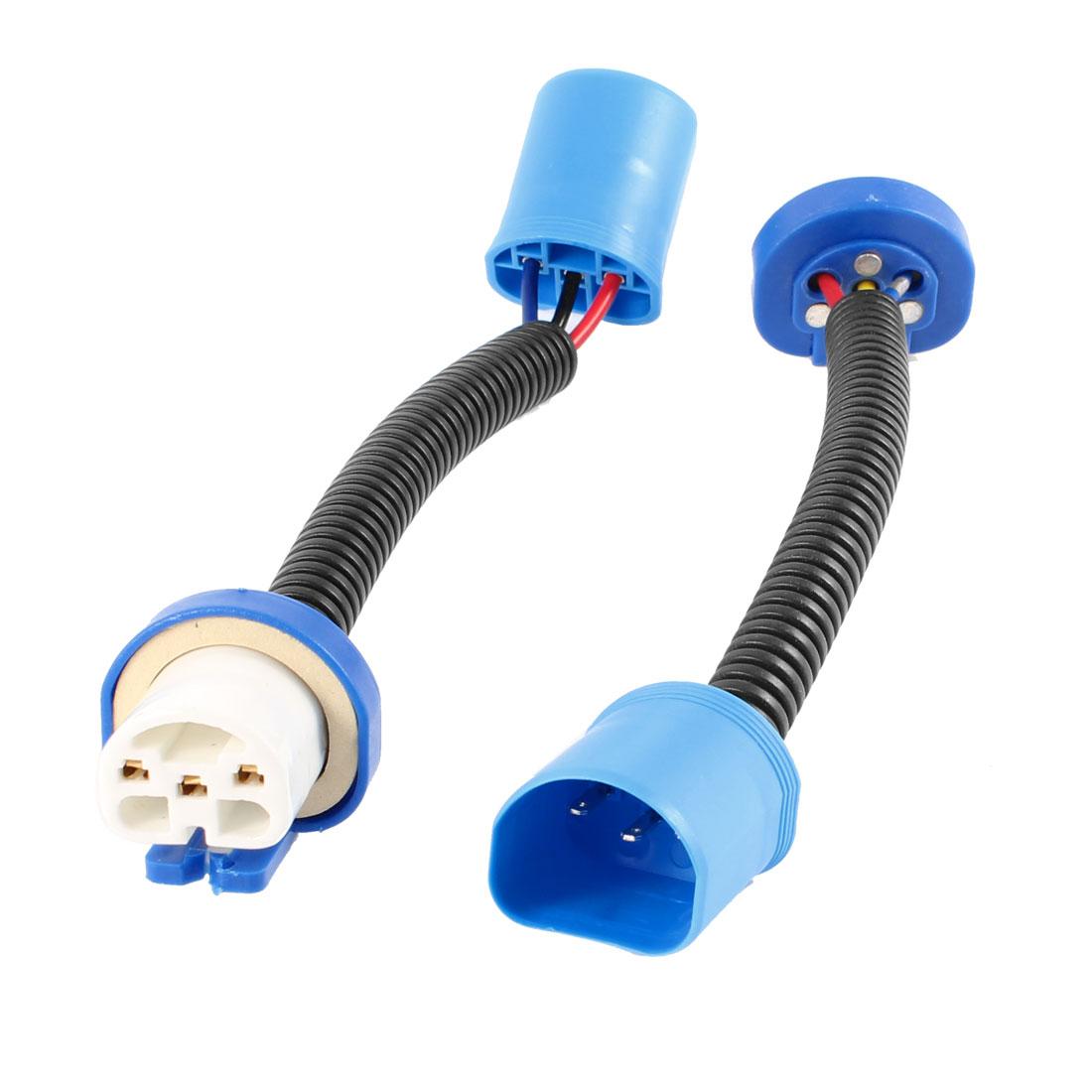 2pcs 9007 Ceramic Male to Female Harnesss Adapter Socket for Fog Light