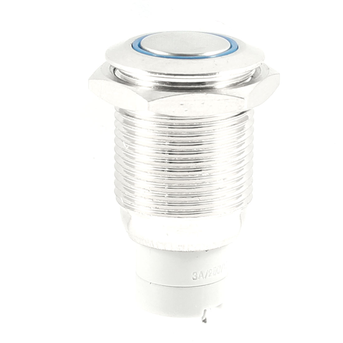 Blue LED Light DC 24V 3A SPDT Round Momentary Stainless Steel Push Button Switch