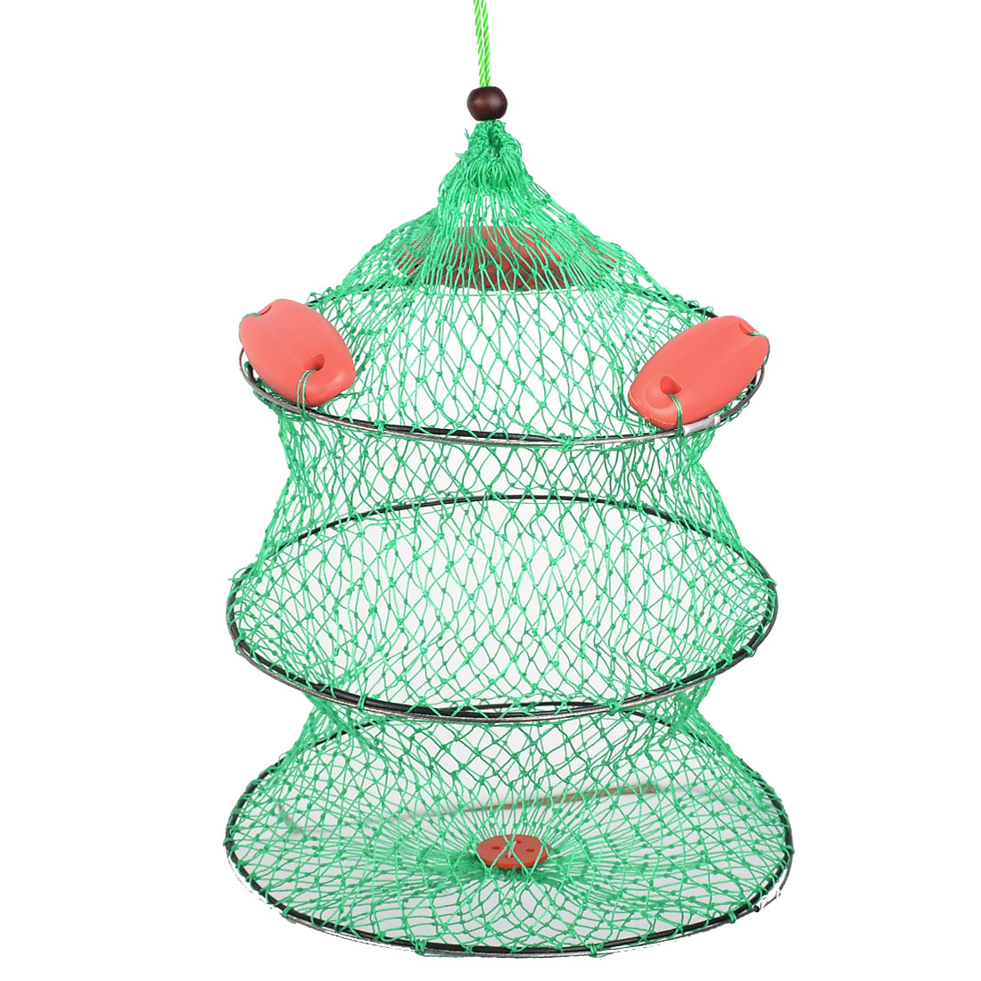 Green Nylon Collapsible 2 Sections Fish Cage Fishing Net
