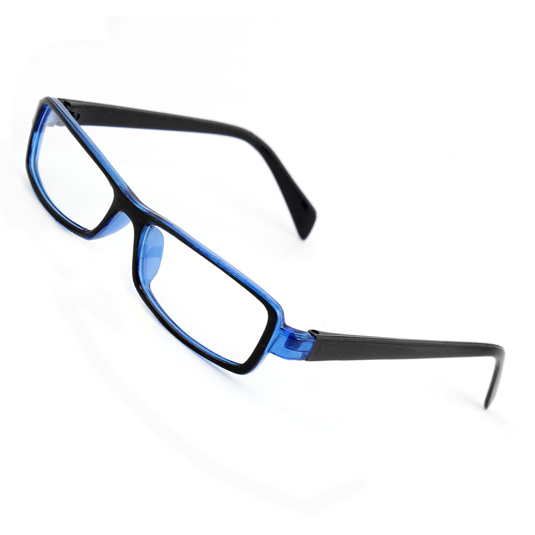 Lady Man Plastic Arms Full Rims Clear Lens Spectacles Plain Glasses Black Blue