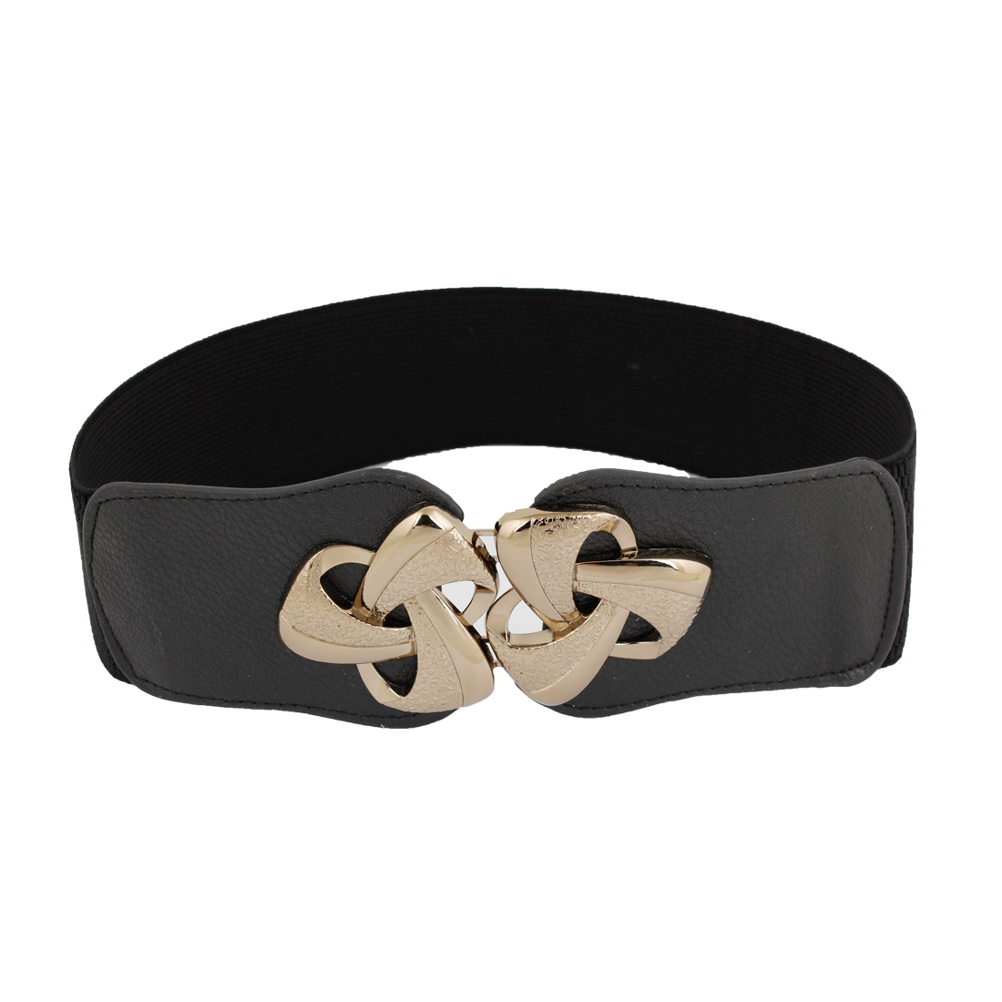 Lady Gold Tone Flower Decor Interlocking Buckle Elastic Belt Black