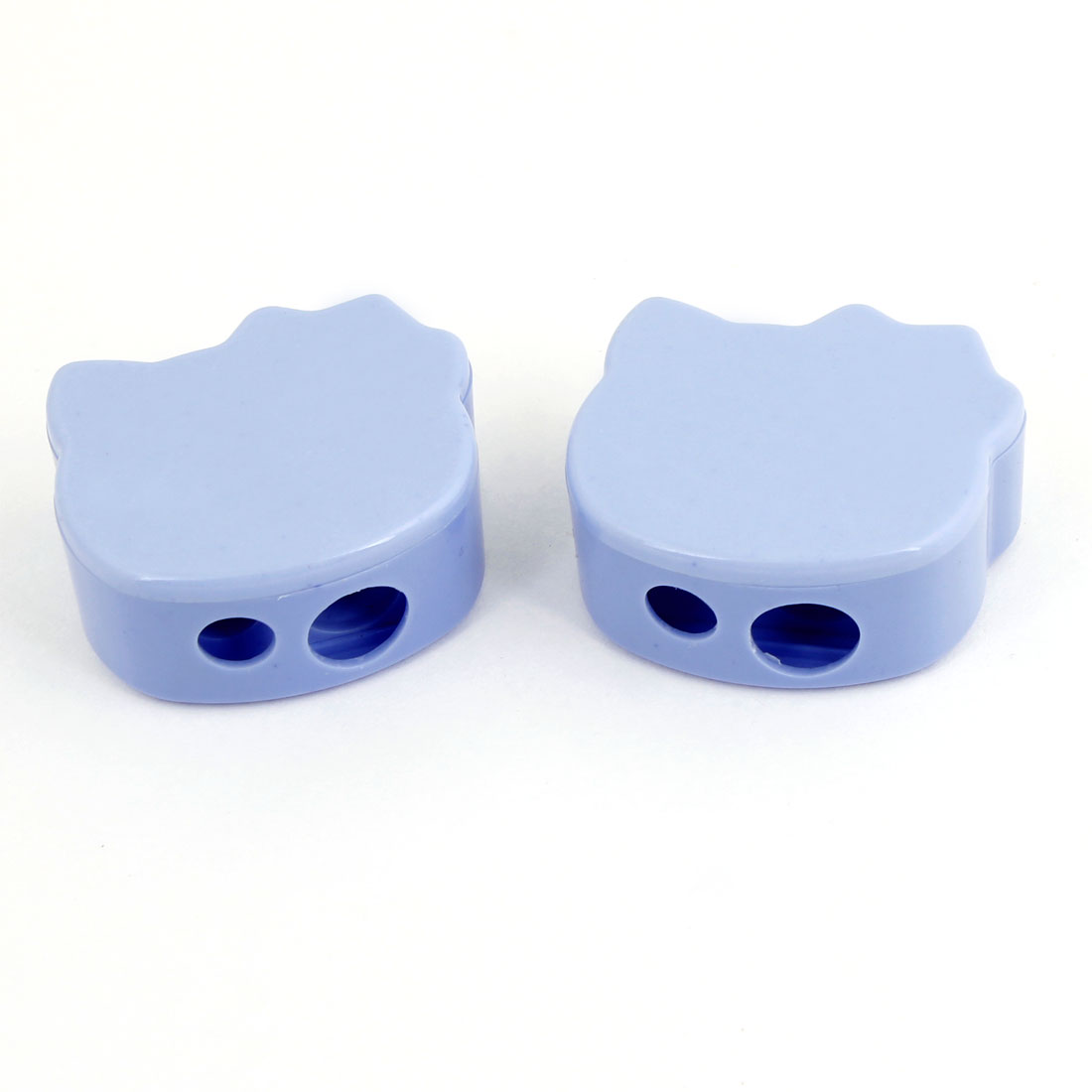 Pair Blue Plastic Shell Dual Hole Eyebrow Pencil Sharpener Makeup Tool