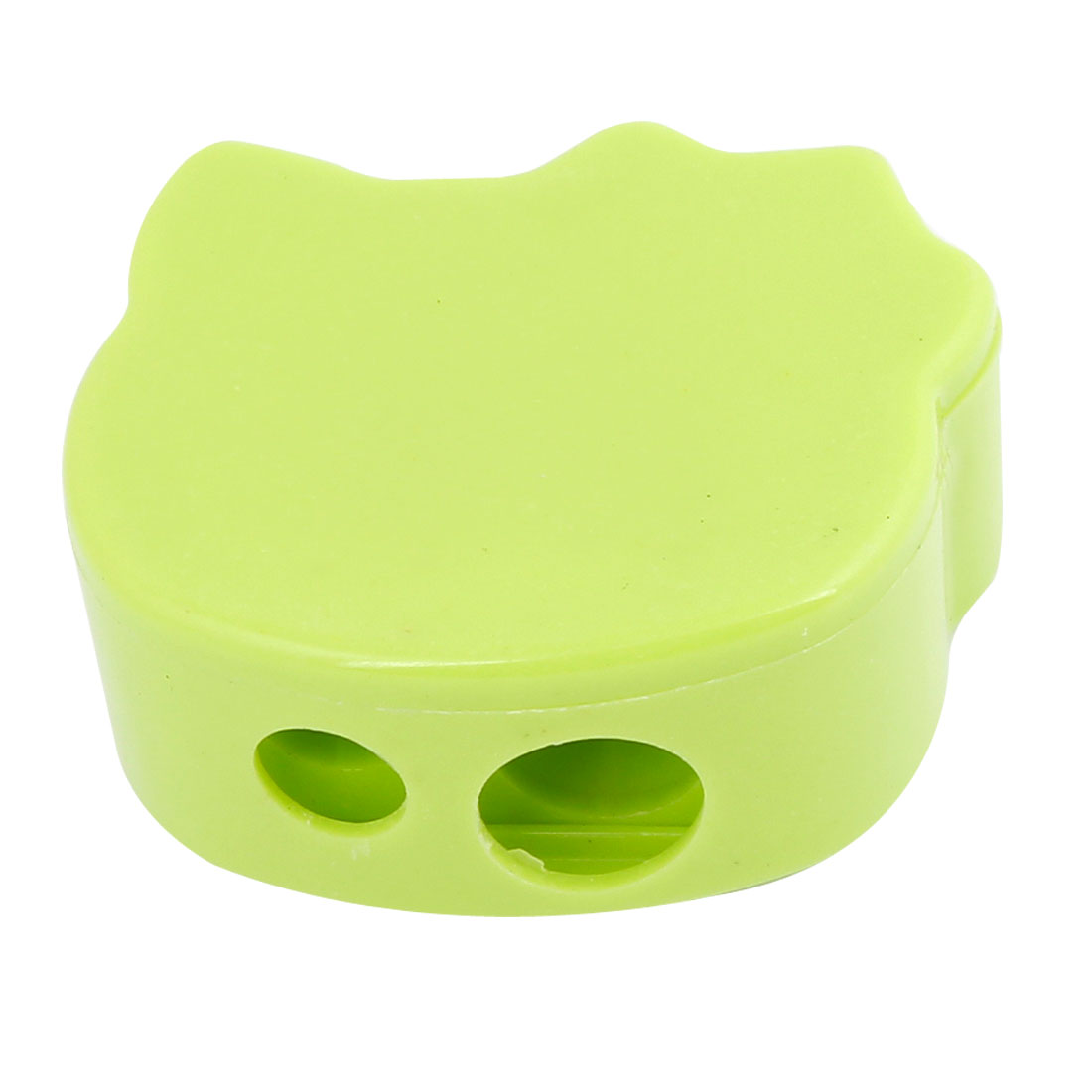 Women Green Double Hole Eyebrow Pencil Sharpener Cosmetic Tool