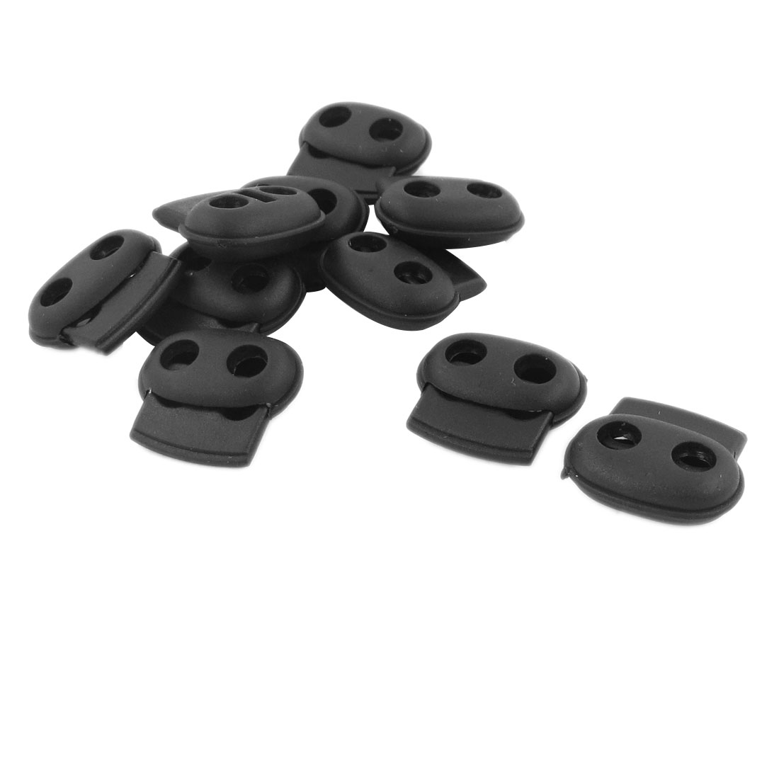 10 Pcs 5.3mm Dia Double Holes Rope Cord Locks Ends Drawstring Toggles Black