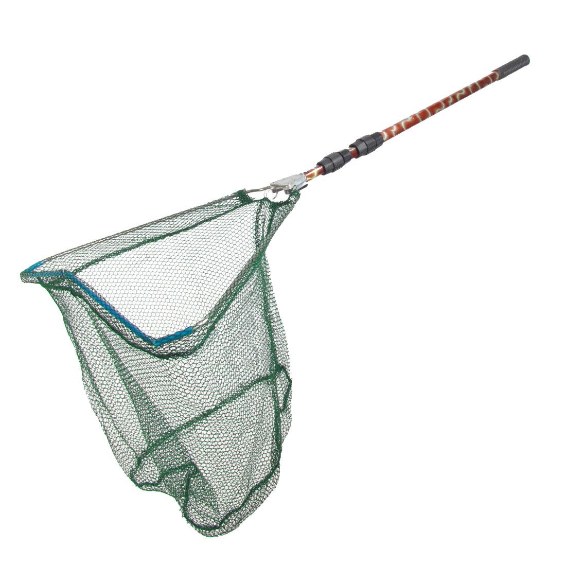 1.4M Length Telescopic Handle Green Knotless Foldup Dipnet Fishing Landing Net