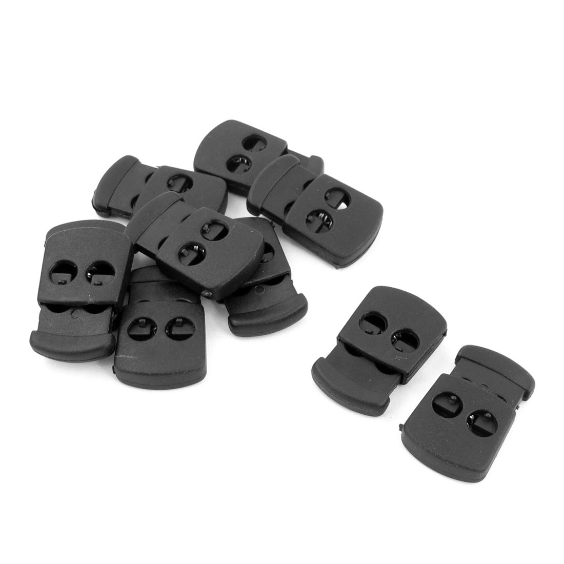 Plastic 5.5mm Dia Dual Hole Spring Bean Cord Locks Ends Stoppers Black 10pcs