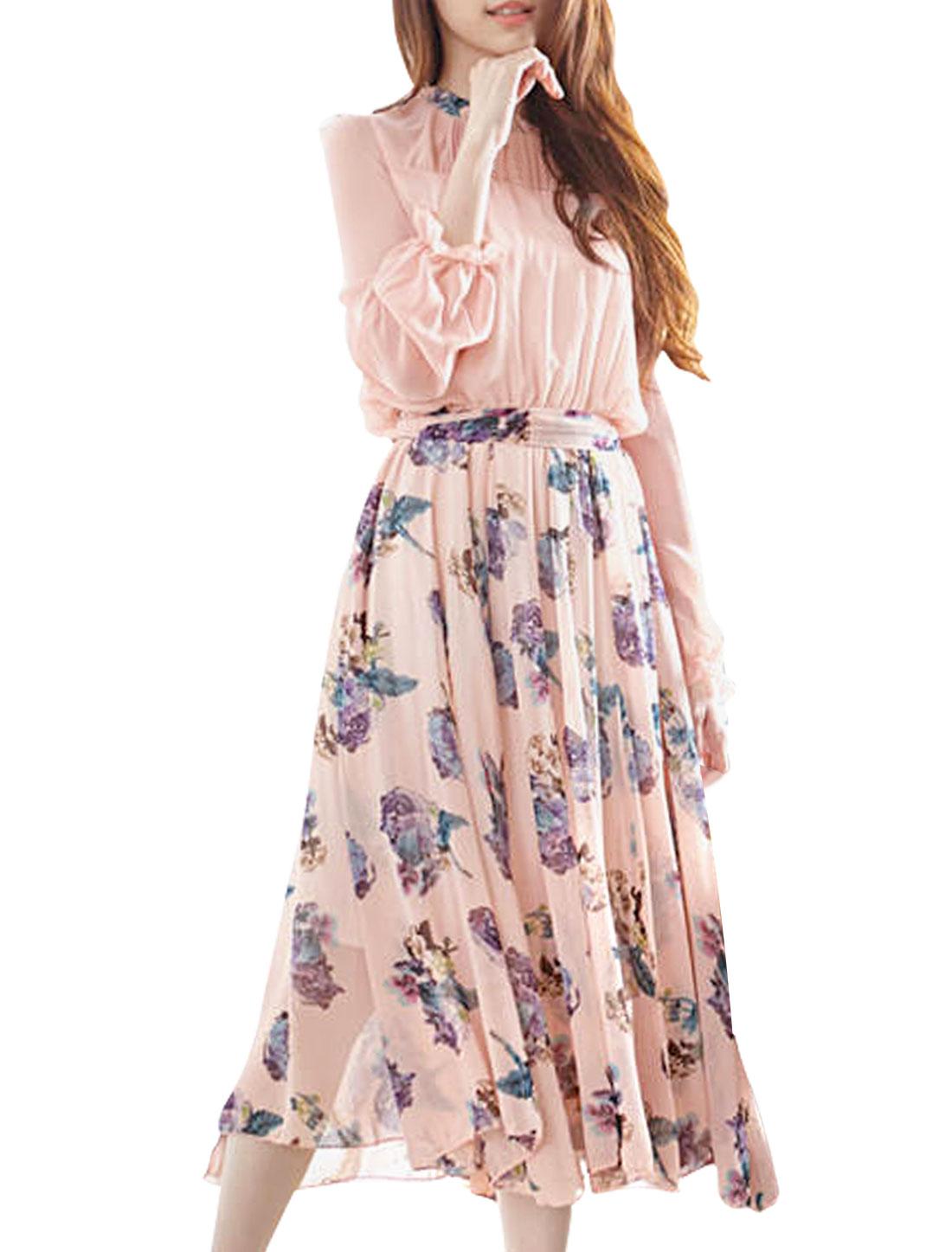 Women Long Sleeve Flower Pattern Pink Purple Chiffon Blouson Dress S