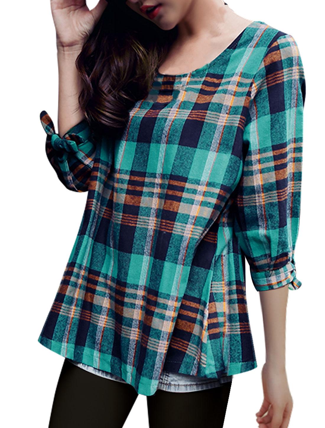 Ladies Round Neck 3/4 Sleeve Green Navy Plaids Top Shirt XS