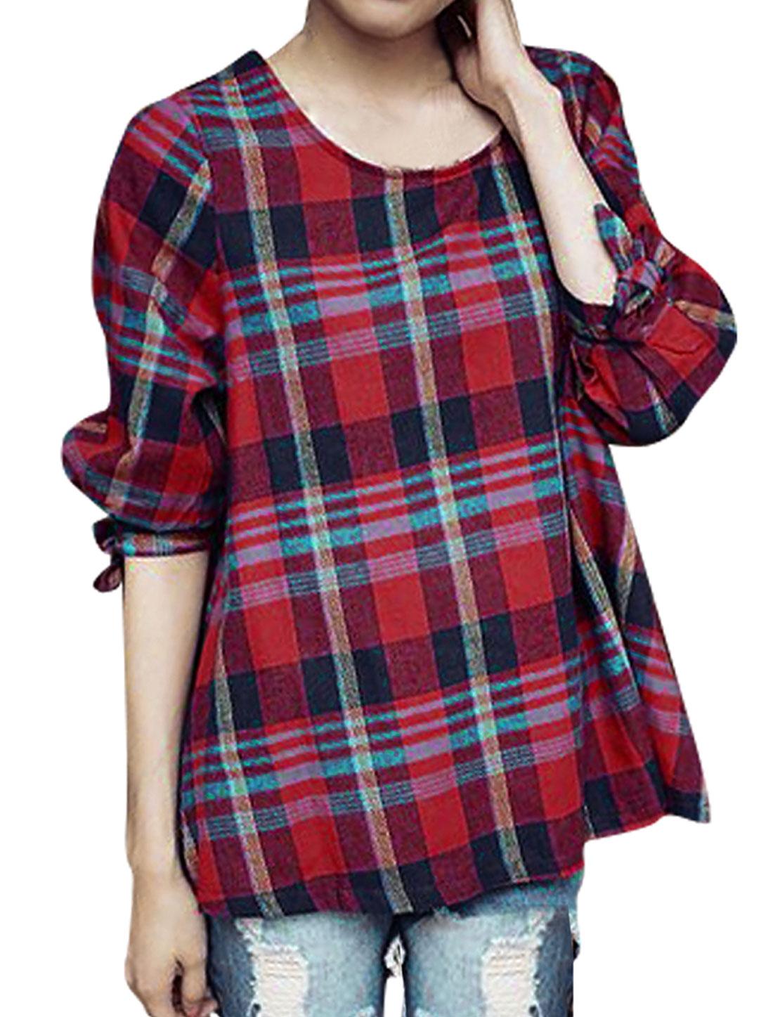 Women 3/4 Sleeve Self Bowknot Cuffs Red Navy Plaids Top Shirt XS