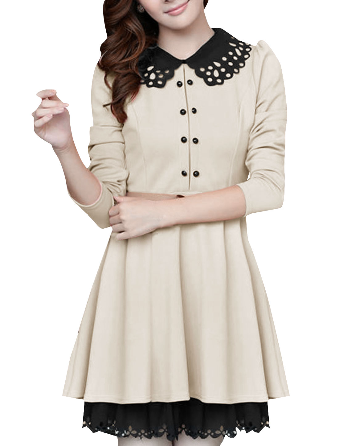 Women Doll Collar Embossed Trim A Line Dress w Belt Beige S