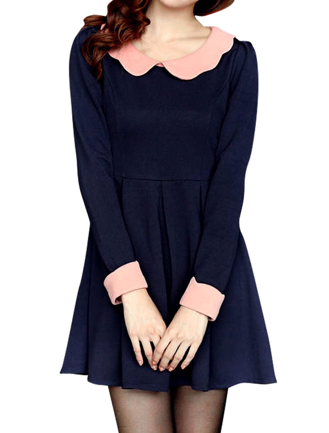 Women Doll Collar Long Sleeved Stylish Navy Pleated Dress XS