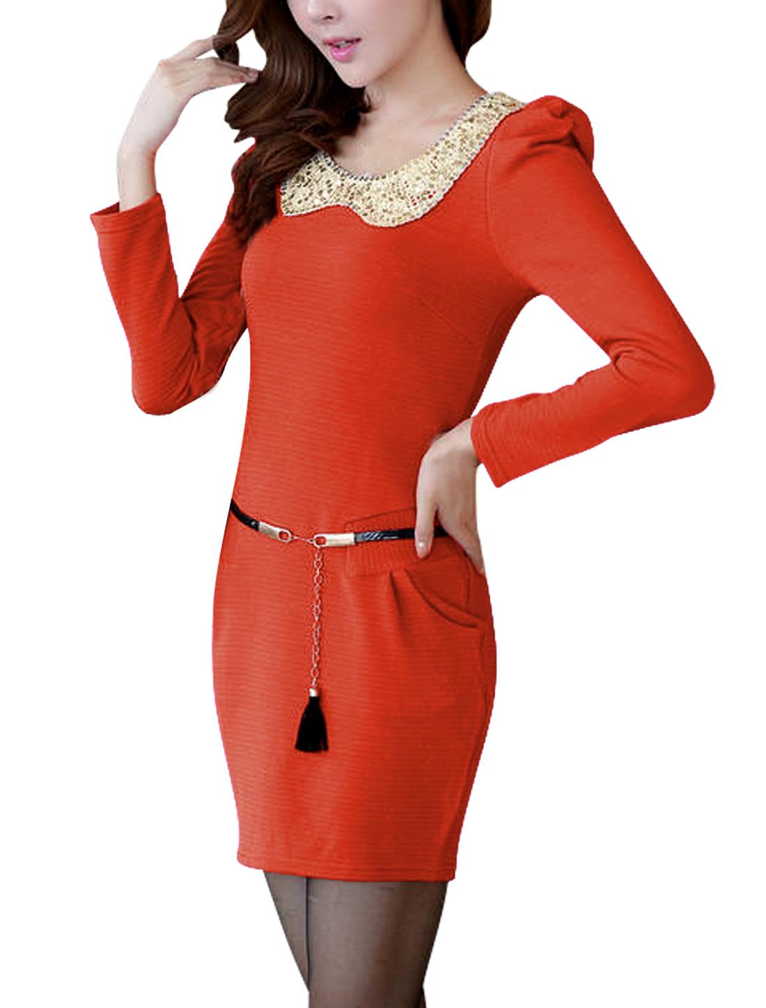 Women Scoop Neck Sequins Decor w Belt Orange Knit Pencil Dress XS