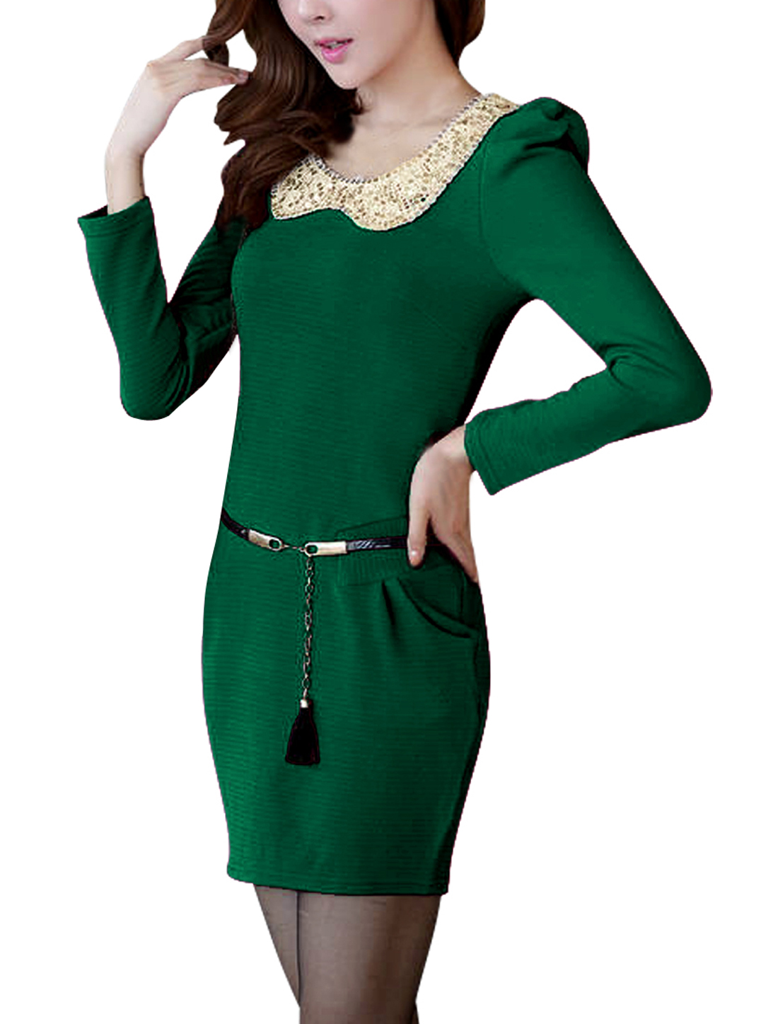 Ladies Long Sleeve Paillettes Decor Green Knit Pencil Dress XS