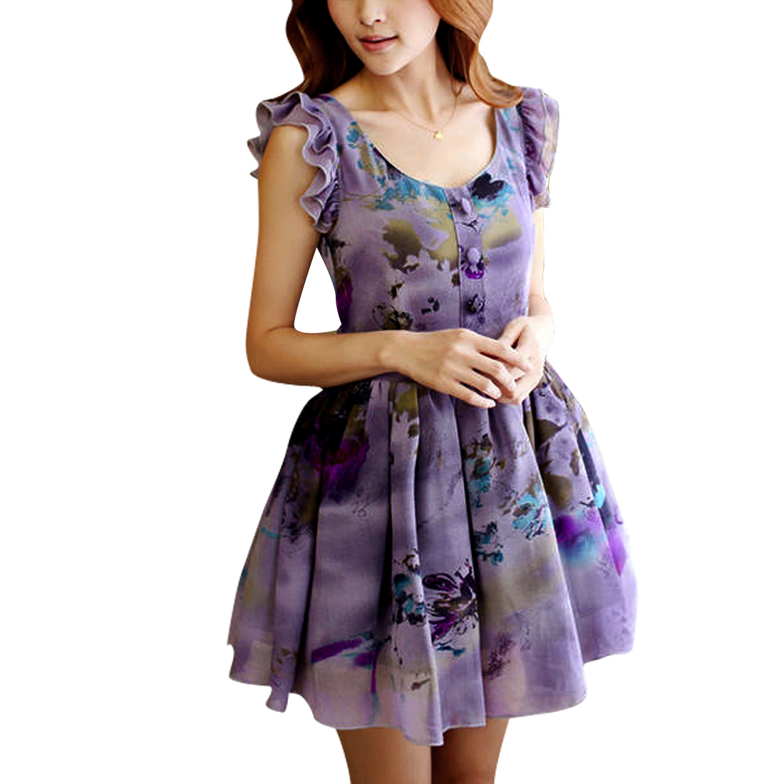 Women Flutter Trim Novelty Prints Chiffon Pleated Dress Purple S