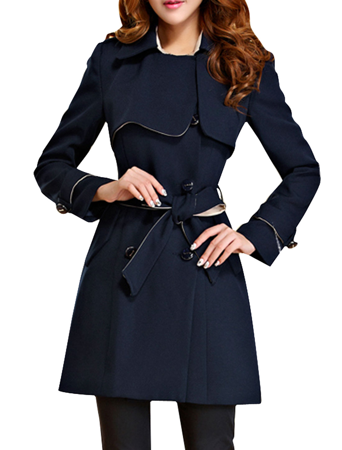Woman Split Lapel Belted Double-Breasted Trench Coat Dark Blue XS