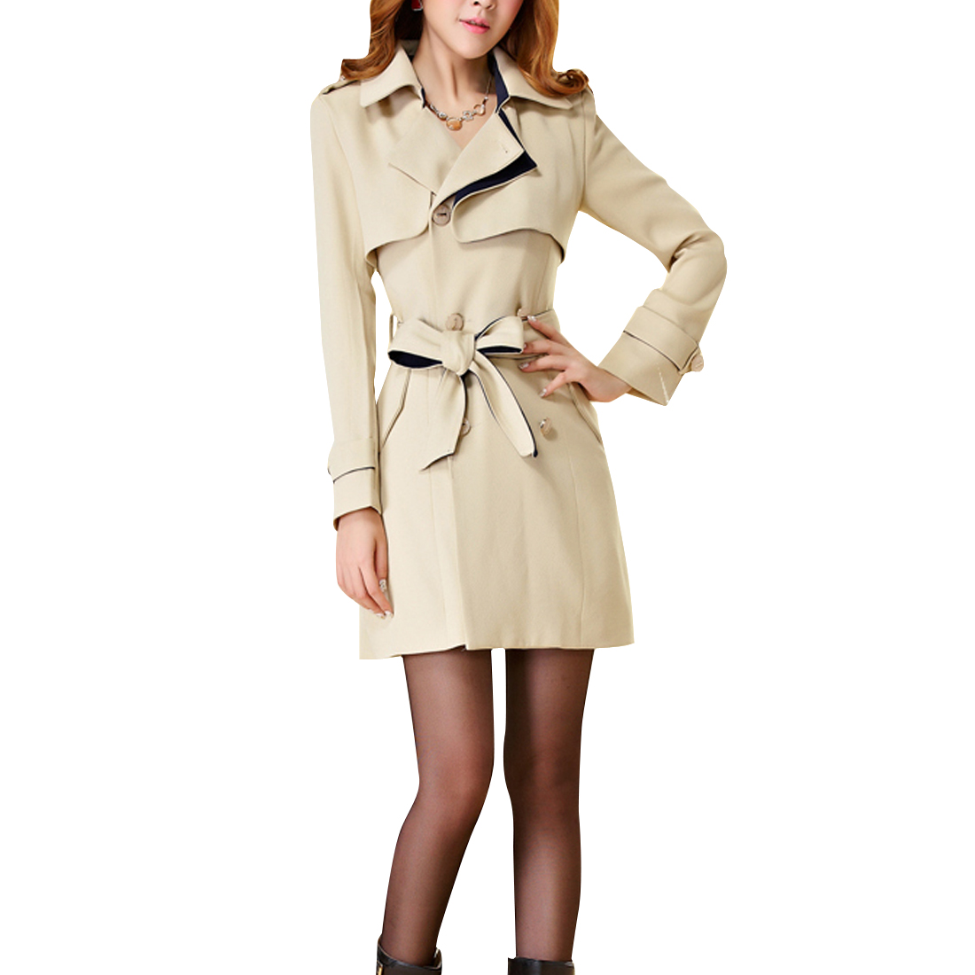 Woman Split Lapel Belted Double-Breasted Trench Coat Beige XS