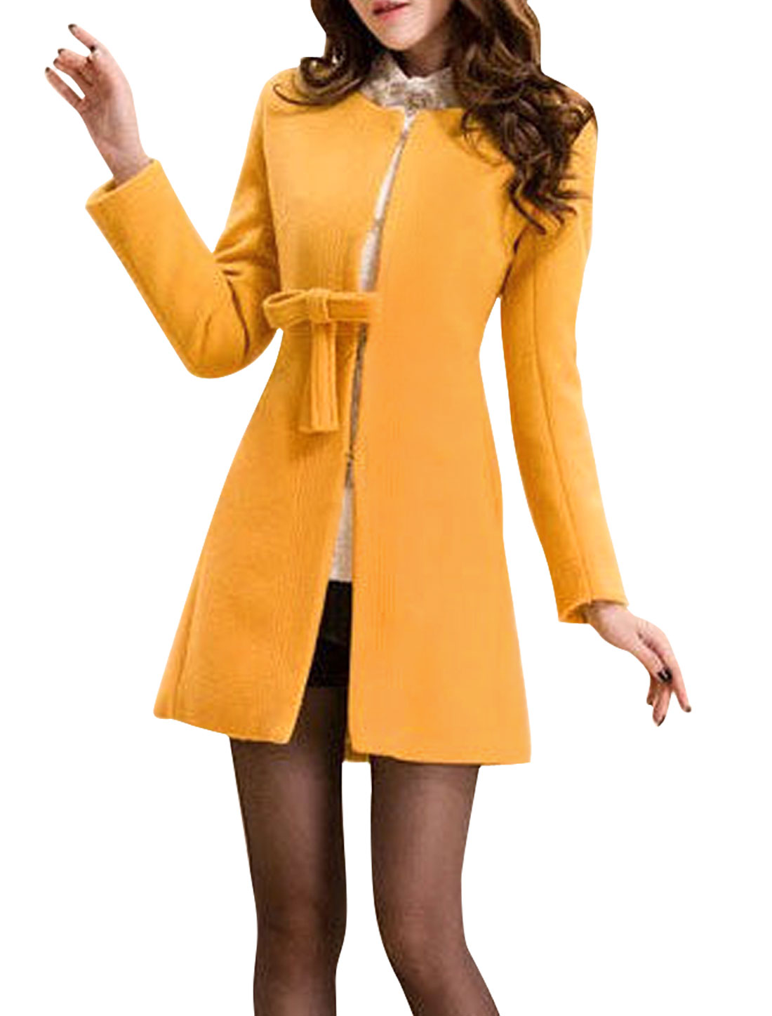 Pure Yellow Bowtie Decor Hook-Eye Closure Worsted Coat for Lady XS