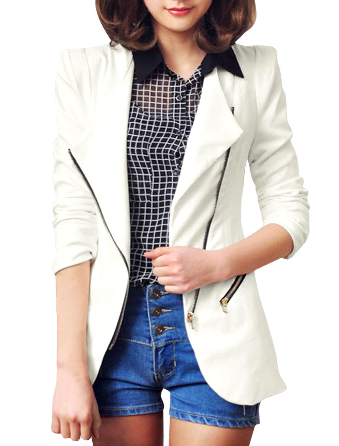Ladies Pure White Slant Zip-Up Closure Casual Blazer Jacket S