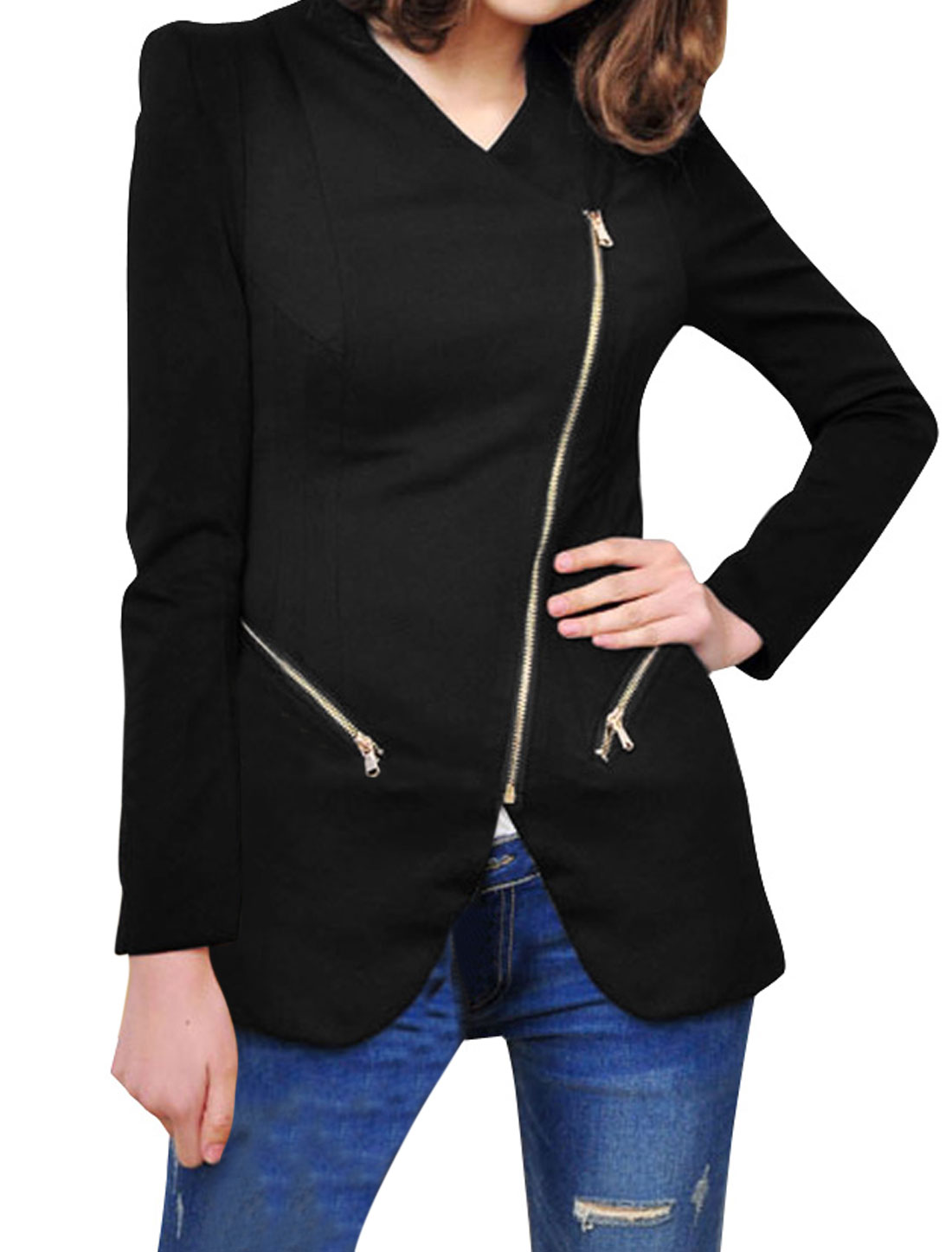 Pure Black Color Slant Zip-Up Closure Casual Blazer Jacket for Lady S