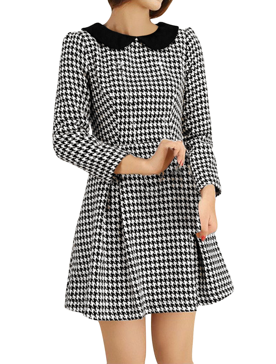 Black White Ruffled Shouder Houndstooth Pattern Dress Women XS