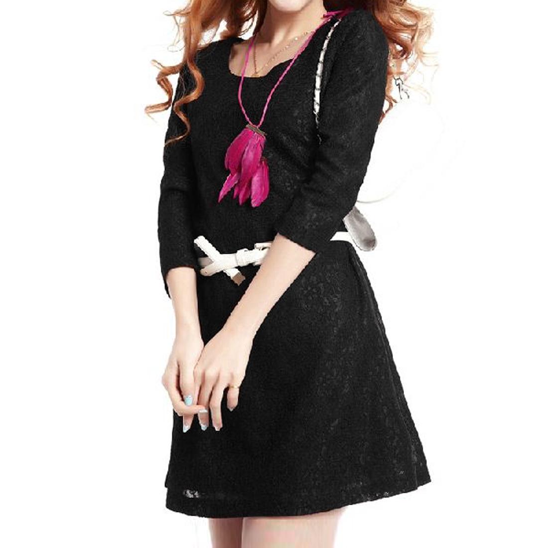 Ladies Scoop Neck Black Lace Slim Straight Dress XS