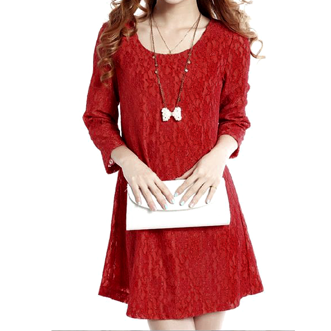 Women Flower Design Bright Red Lace Straight Dress XS