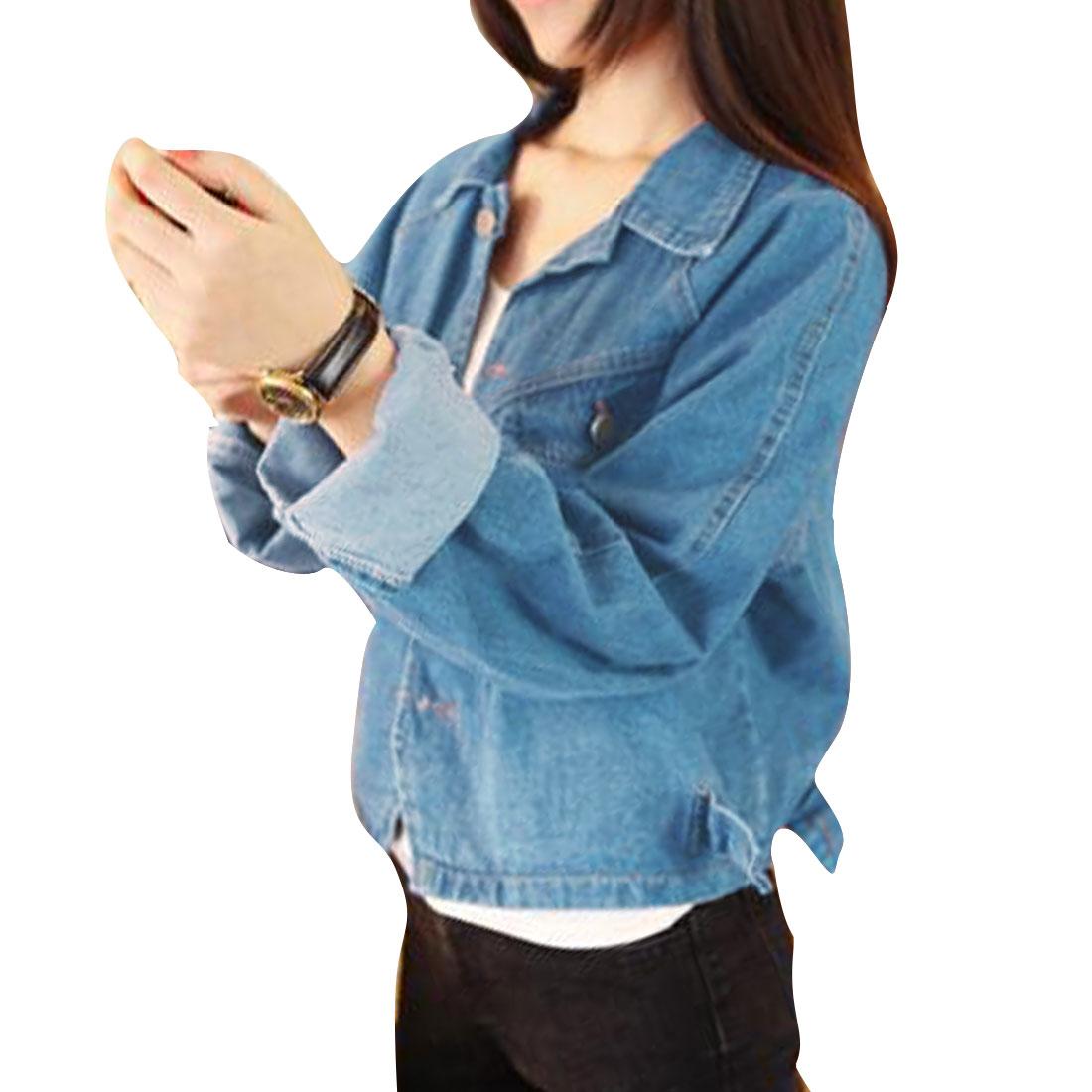Lady Blue Single Breasted Raglan Sleeve Batwing Casual Denim Jacket S
