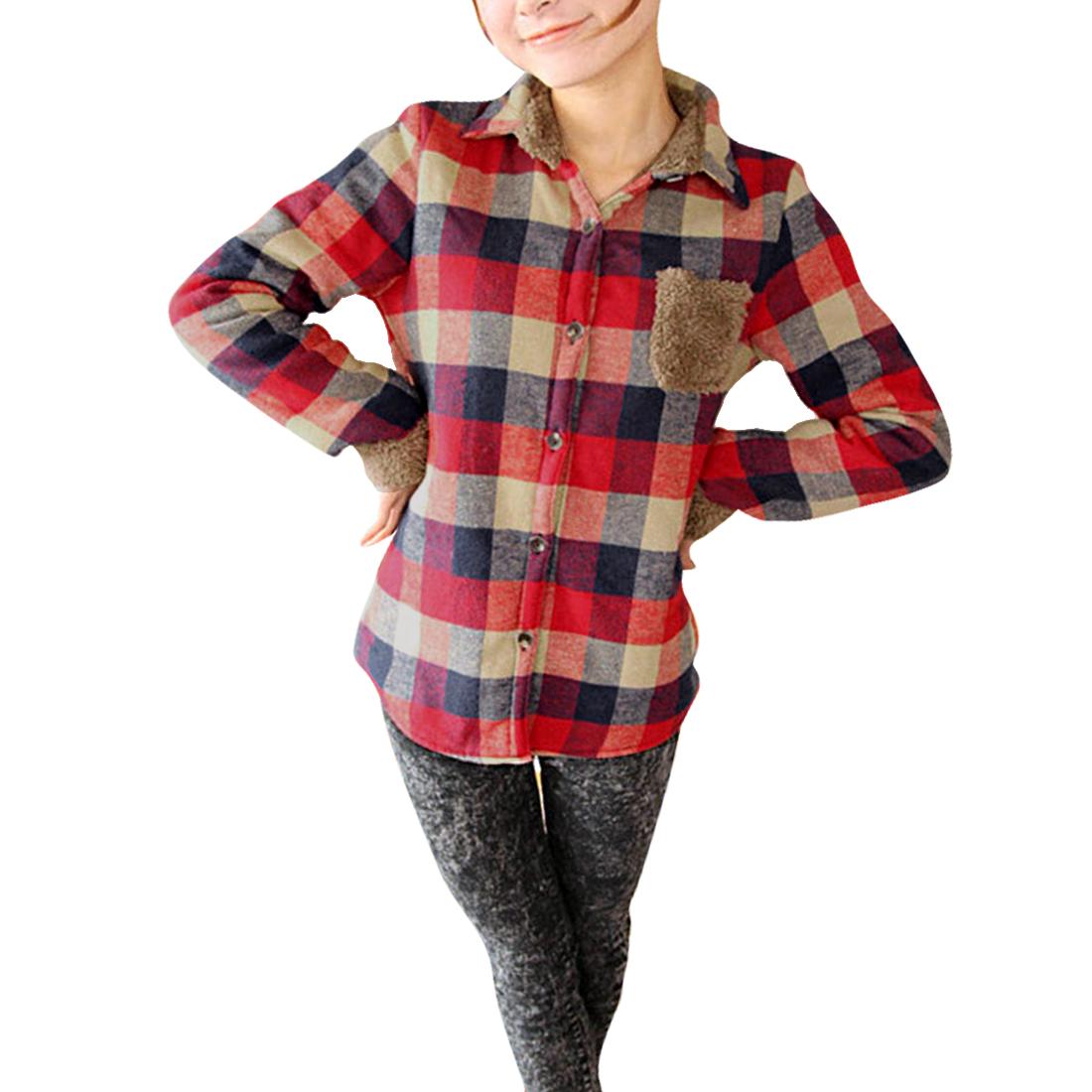 Women Long Sleeved Button Front Red Khaki Plaids Top Shirt S