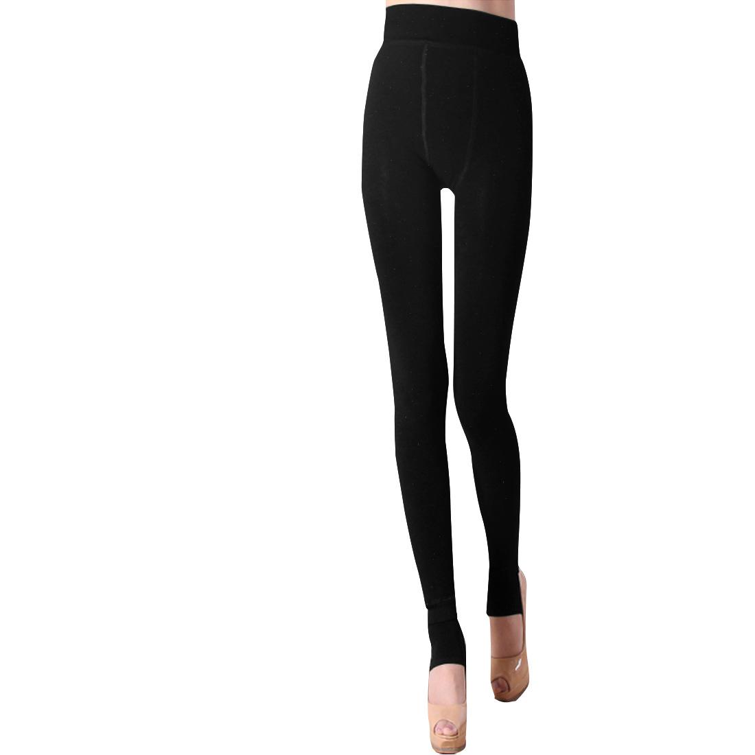 Woman Elastic Waist Warm Fleece Lined Black Stirrup Leggings XS