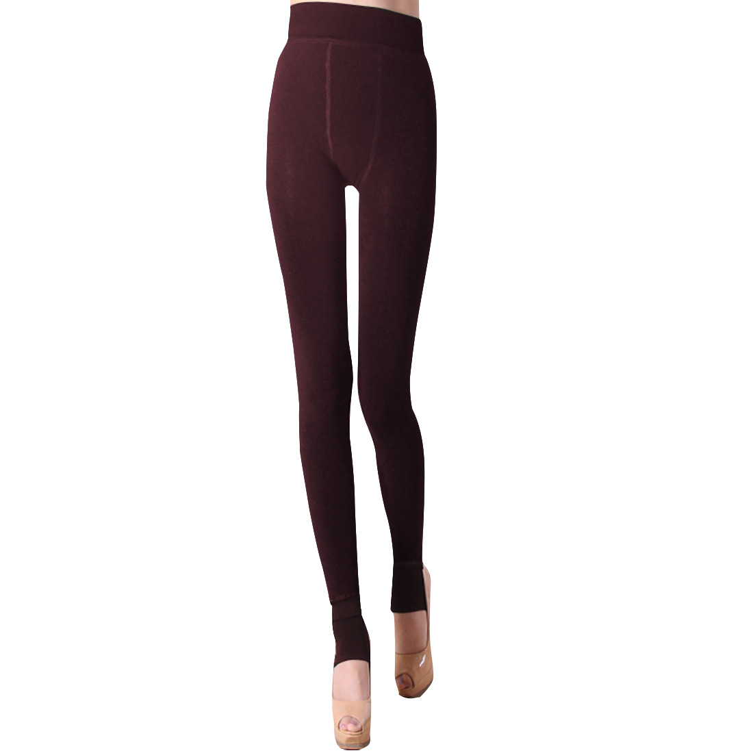 Ladies Chic Burgundy Color Fleece Lined Warm Leggings XS