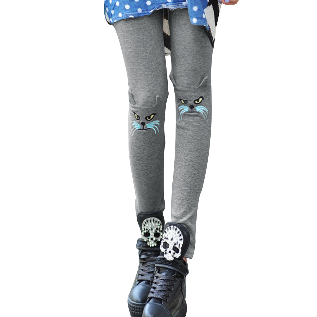 Lady Slimming Mid Rise Elastic Waist Cat Embroidery Gray Cropped Leggings XS