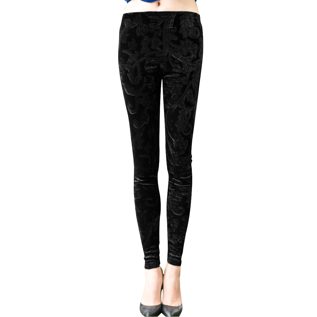 Woman Pure Black Elastic Waist Slim Fit Velvet Leggings XS