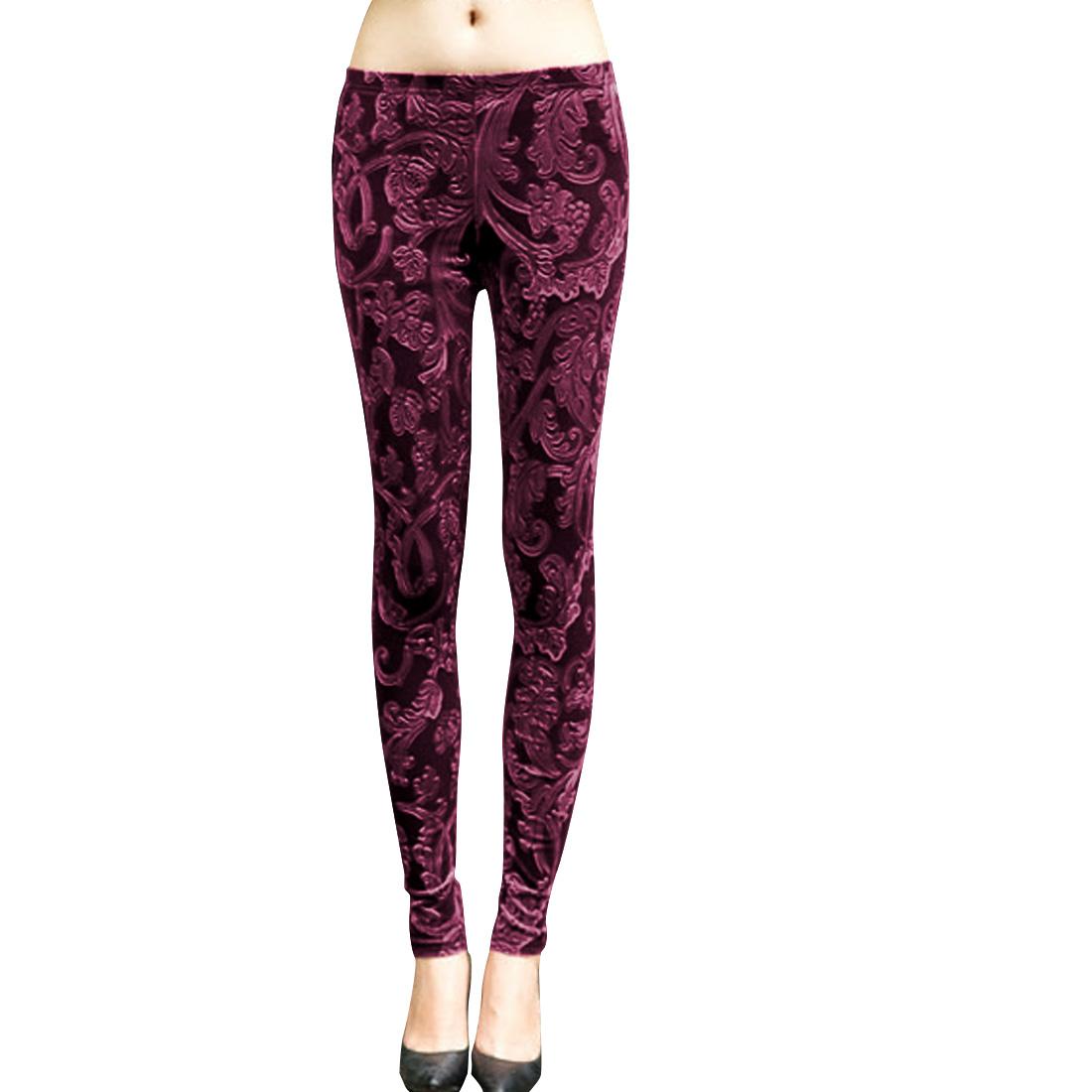 Ladies Elastic Waist Flower Design Burgundy Slim Fit Velvet Leggings XS