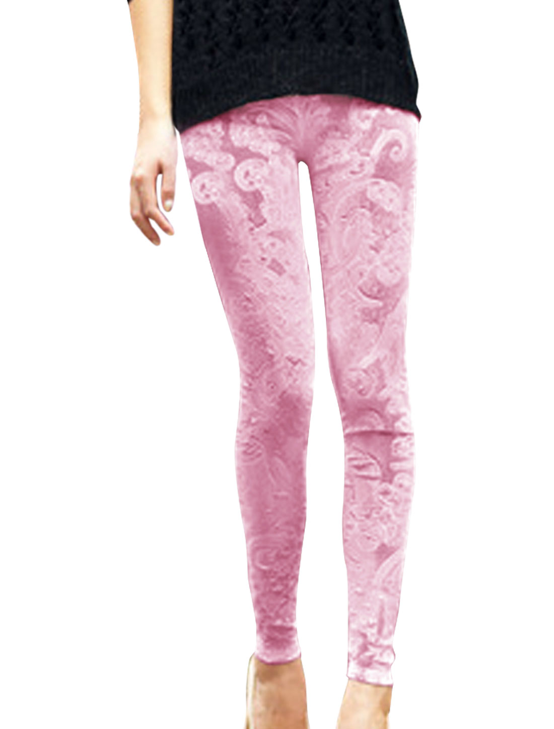 Pretty Pink Color Flower Design Slim Fit Velvet Leggings for Lady XS