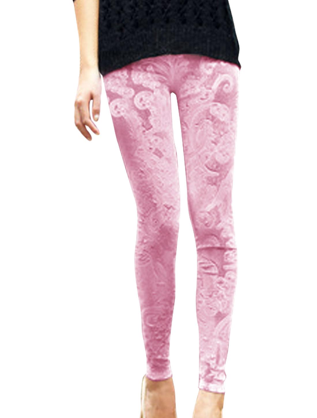 Pretty Pink Color Flower Design Slim Fit Velvet Leggings for Lady XS