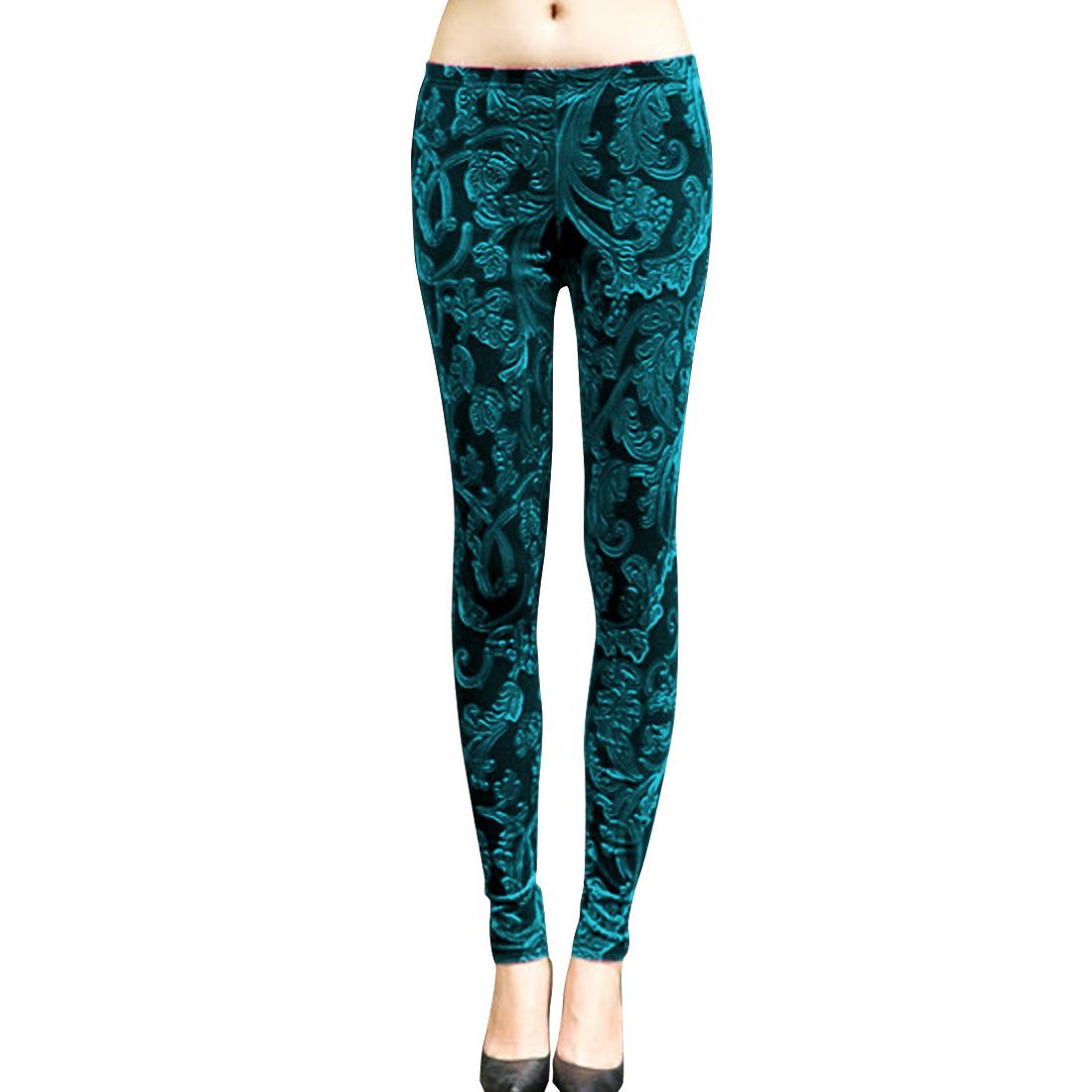 Woman Chic Pure Teal Color Flower Design Velvet Leggings XS