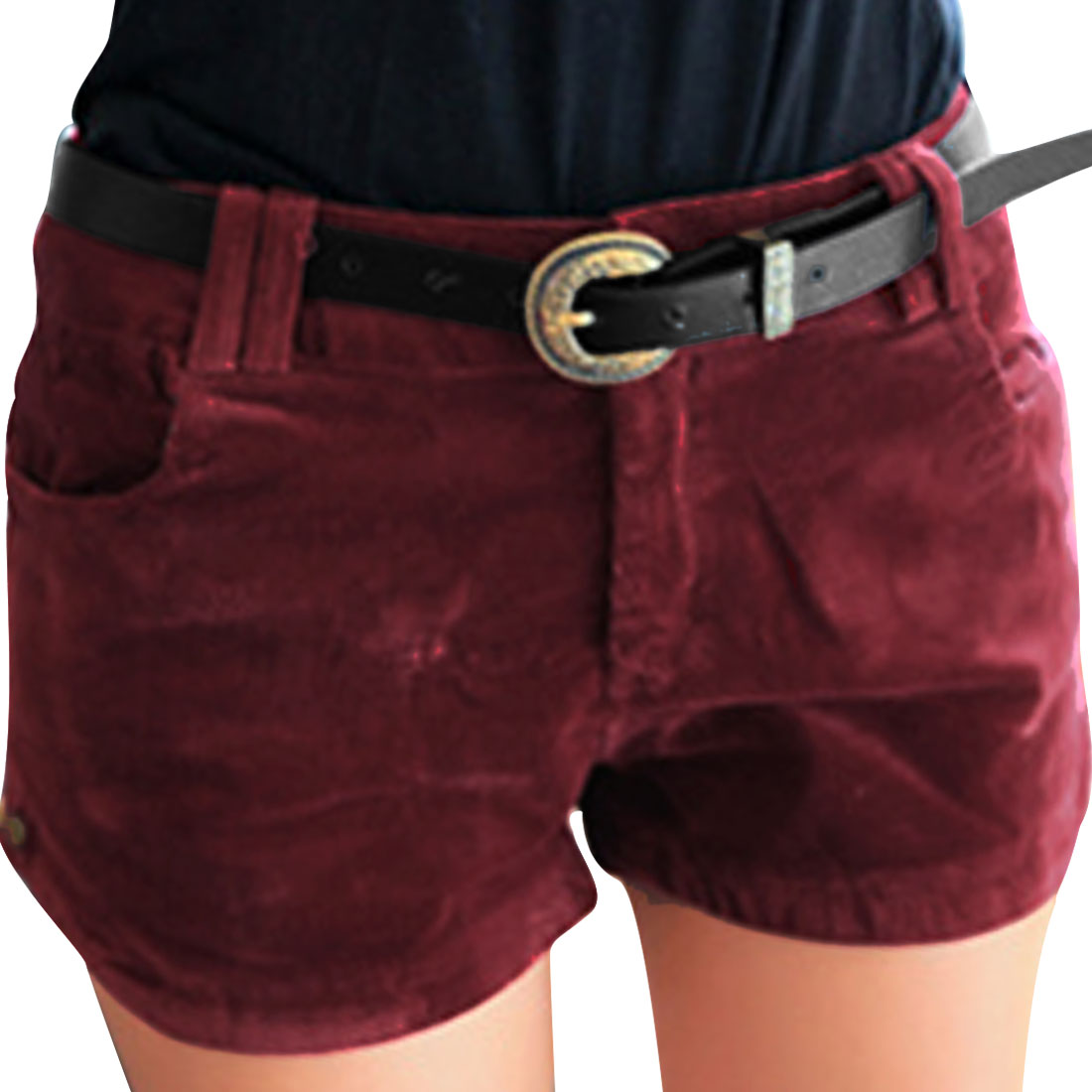 Lady Pockets Front Mid Rise Zip Fly Corduroy Shorts w Belt Red XS