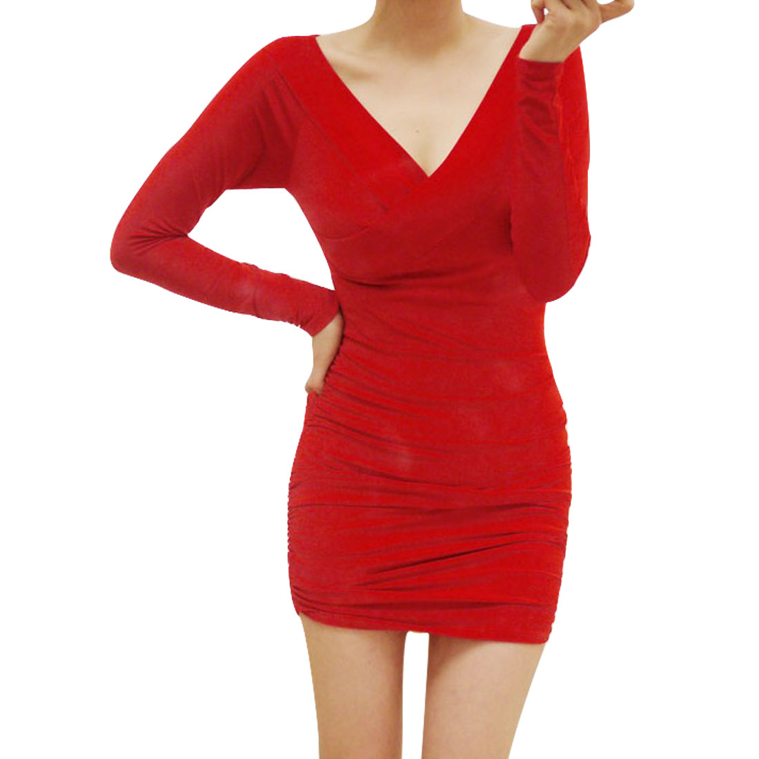 Women Red Crossover V Neck Gathered Detail Mini Casual Dress XS