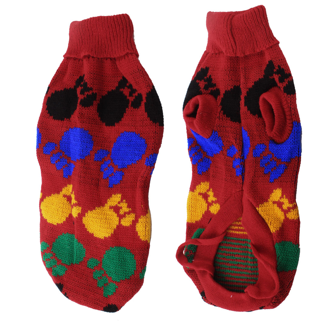Warm Turtleneck Paw Printed Knitted Dog Winter Sweater Clothing Size S
