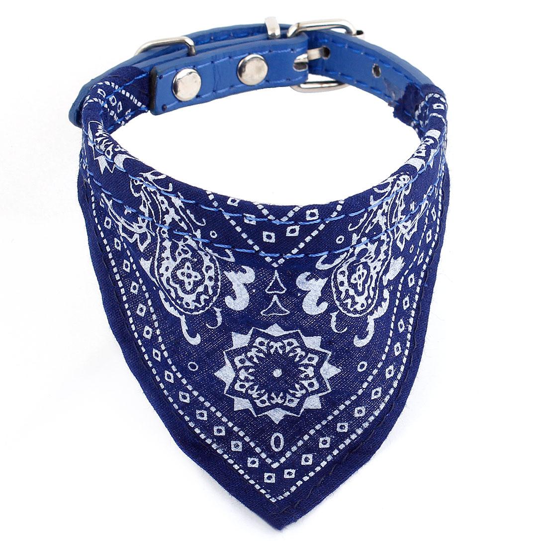 "0.4"" Width Paisley Printed Bandana Collar Rope Dark Blue for Pet Dog"