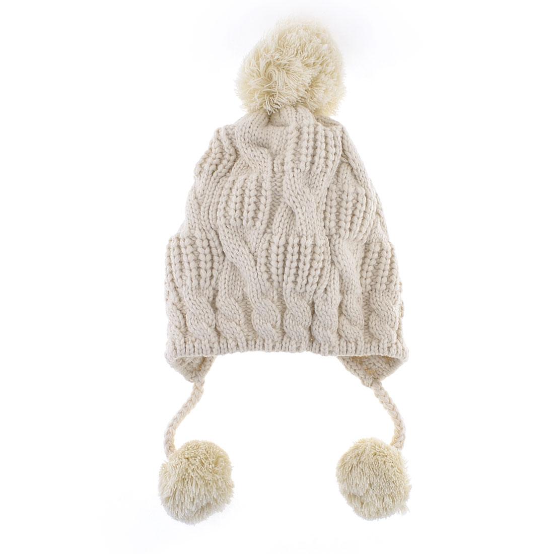 Woman Beige 3 Pom-Pom Decor Winter Warmer Knitted Hat