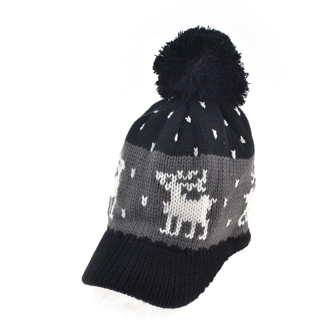Woman Pom Pom Top Nordic Pattern Knitted Warm Visor Hat Cap Black